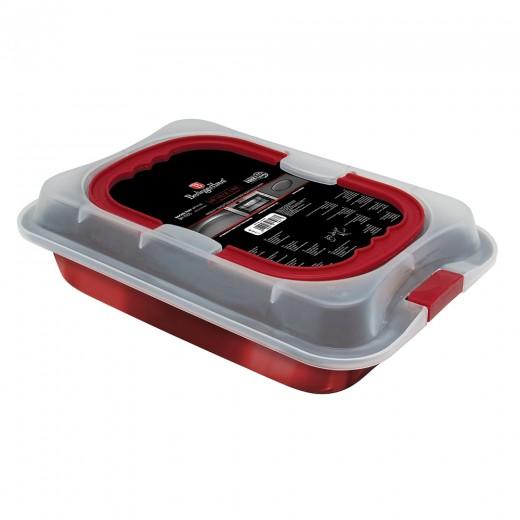 Tava pentru cuptor cu invelis antiaderent si capac, L36,5xl24,5xH5,5 cm, Metallic Line Burgundy