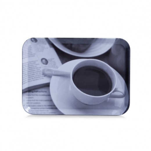 Tava pentru servire Coffee Design, Melamina Grey, l30,5xA22 cm
