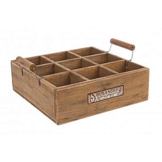 Tava pentru servire compartimentata, din lemn de Paulownia Boulangerie Natural, L26,5xl26,5xH10,5 cm