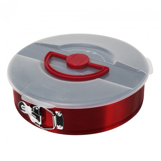 Tava pentru tort cu baza detasabila si capac, invelis antiaderent, Ø26xH6,8 cm, Metallic Line Burgundy