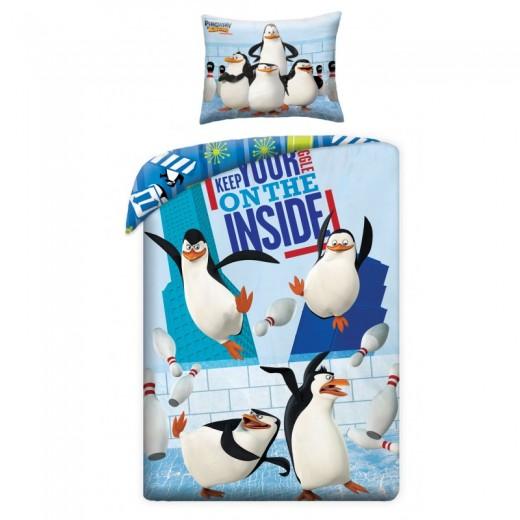 Lenjerie de pat copii Cotton Penguins of Madagascar P0050