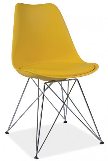 Scaun tapitat cu piele ecologica, cu picioare metalice Tim Yellow, l49xA41xH85 cm