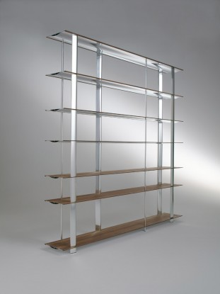 Biblioteca din aluminiu si furnir Kaze Nature / White, l240xA34xH194 cm