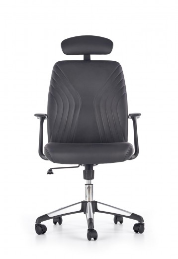 Scaun de birou ergonomic tapitat cu piele ecologica Tolio Black, l60xA63xH110-120 cm