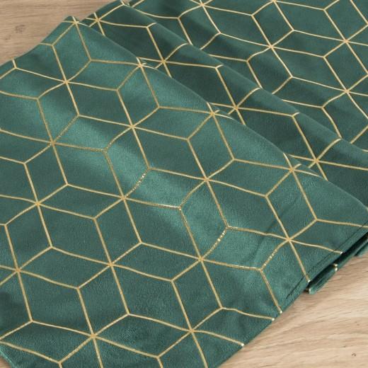 Traversa masa Suzi Velvet Verde / Auriu, 35 x 140 cm