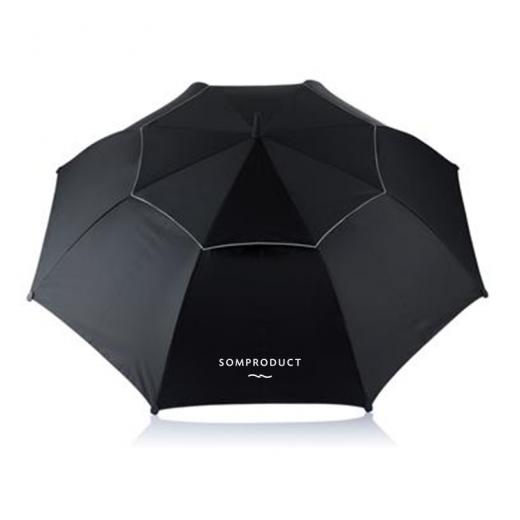 Umbrela pentru 2 persoane, Hurricane Negru, Ø96xH120 cm, SomProduct