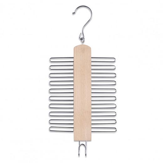 Umeras din metal si lemn pentru cravate, cu 20 carlige, Belt Natural, l16xH39 cm