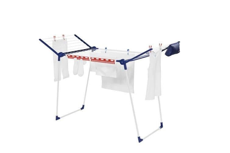 Uscator rufe pliabil, cadru metalic, Pegasus 180 Solid Plus Alb / Albastru, 18 m
