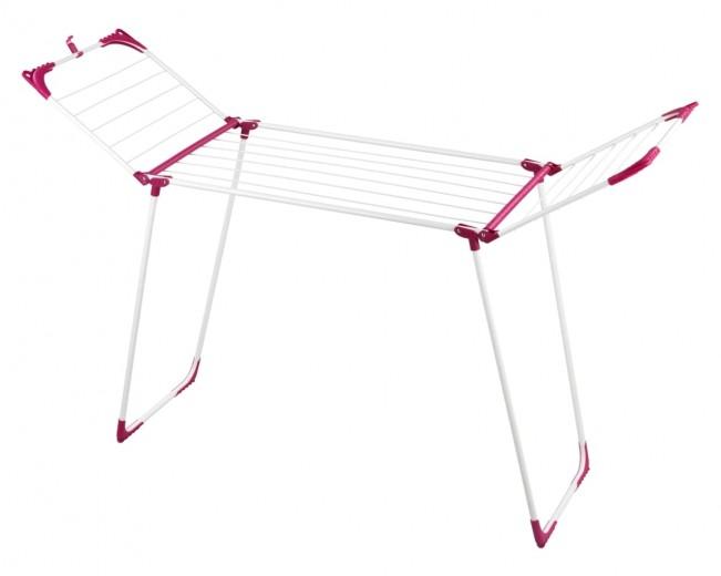 Uscator rufe pliabil, cadru metalic, Summer Large Alb / Rosu, 20 m