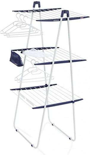 Uscator rufe vertical pliabil, cadru metalic, Pegasus Tower Deluxe 200 Alb, 20 m