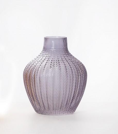 Vaza Boa Bulgy Anthracite, Sticla, Ø18xH22 cm