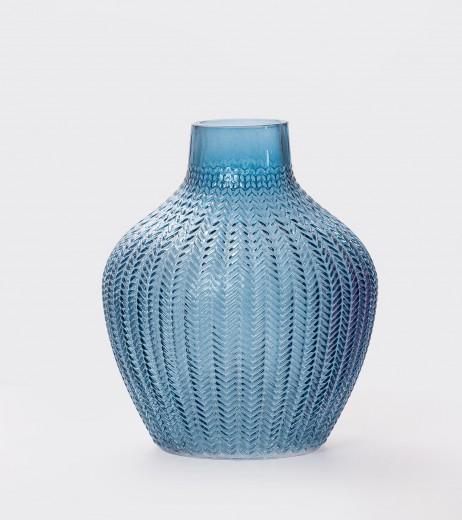 Vaza Boa Bulgy Blue, Sticla, Ø18xH22 cm