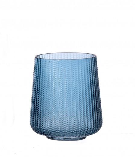 Suport lumanare Boa Huricane Blue, Sticla, Ø14xH17 cm