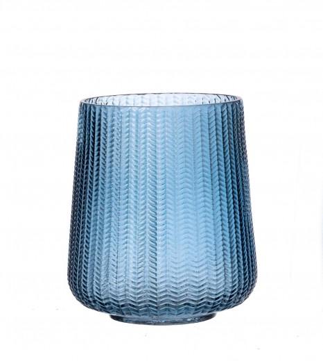 Vaza Boa Huricane Blue, Sticla, Ø17xH20 cm
