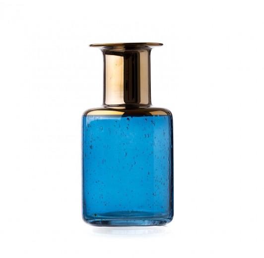 Vaza Corvo Blue / Gold, Sticla, Ø11xH20 cm