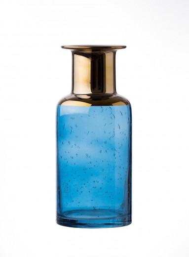 Vaza Corvo Blue / Gold, Sticla, Ø11xH22 cm