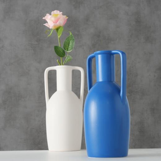 Vaza decorativa din ceramica Leah Albastru / Alb, Modele Asortate, Ø12xH26 cm