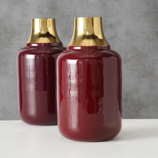 Vaza decorativa din metal Asani Rosu inchis / Auriu, Modele Asortate, Ø15xH28 cm