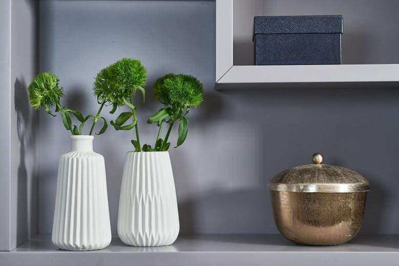 Vaza decorativa din portelan Esko Tall Alb, Modele Asortate, Ø8,5xH17 cm