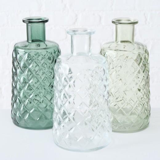 Vaza decorativa din sticla Judith Verde / Clear, Modele Asortate, Ø12xH24 cm