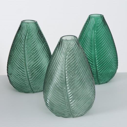 Vaza decorativa din sticla Lewin Verde, Modele Asortate, L14xl13xH22 cm