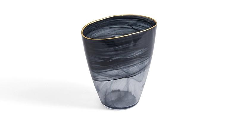Vaza decorativa din sticla Logan Small Fumuriu, L18xl6xH19 cm