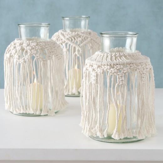 Vaza decorativa din sticla Makramee Crem, Modele Asortate, Ø18xH30 cm