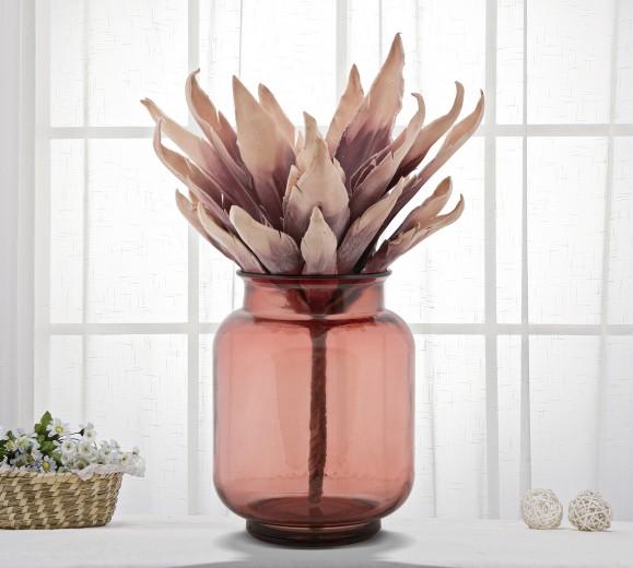 Vaza decorativa din sticla reciclata Flores Round Rosu, Ø20xH25 cm