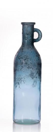 Vaza Rustic Blue Bottleshape, Sticla, Ø15xH52 cm