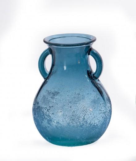 Vaza Rustic Blue, Sticla, Ø11xH16 cm