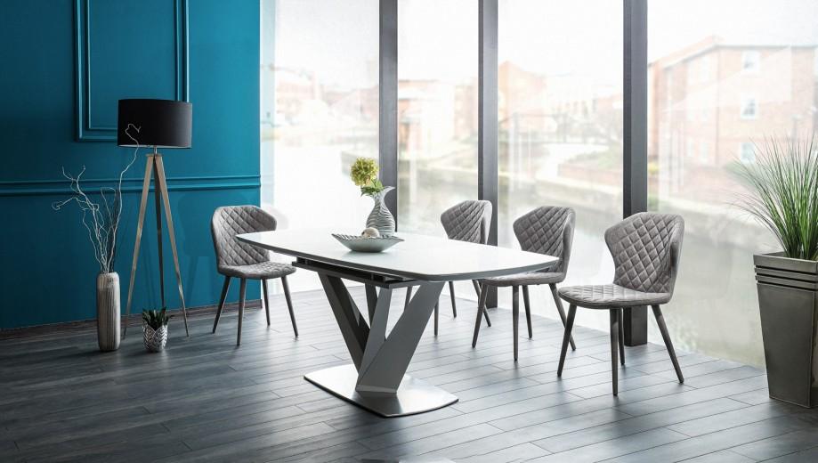 Set masa extensibila din sticla si MDF Vegas White + 4 scaune tapitate Logan Grey, L160-220xl90xH76 cm