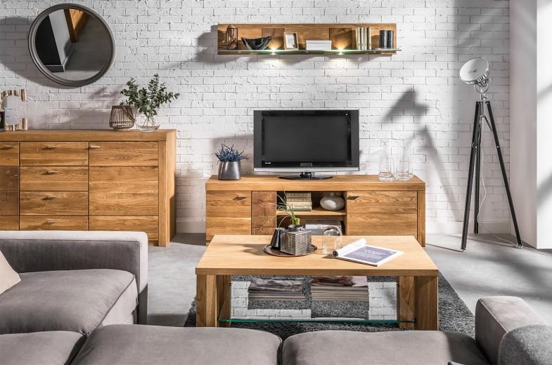 Set de mobila living din lemn de stejar si furnir, 3 piese Velle Oak