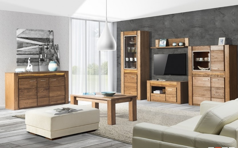 Set de mobila living din lemn de stejar si furnir, 6 piese Velvet Oak