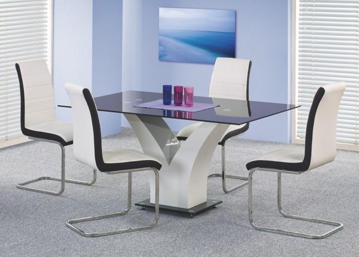 Set masa din sticla si MDF Vesper Black / White + 4 scaune K132 White / Black, L160xl90xH76 cm
