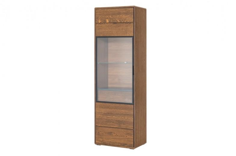 Vitrina din lemn si furnir, cu 1 sertar si 1 usa Bellis 10 Oak, l62xA42xH199 cm