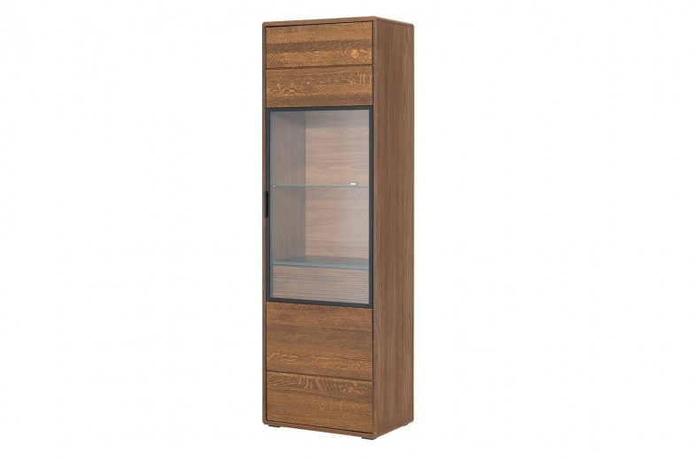 Vitrina din lemn si furnir, cu 1 sertar si 1 usa Bellis 11 Oak, l62xA42xH199 cm