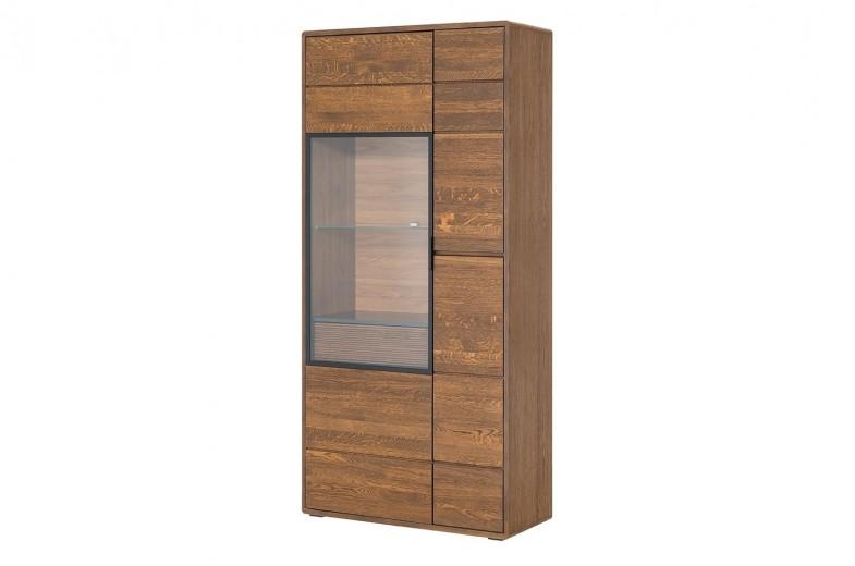 Vitrina din lemn si furnir, cu 1 sertar si 2 usi Bellis 12 Oak, l92xA42xH199 cm