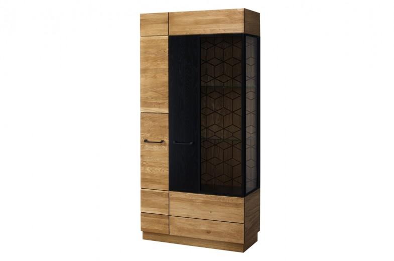 Vitrina din lemn si furnir, cu 2 usi Big Mosaic 12 Stejar / Negru, l95xA42xH196 cm