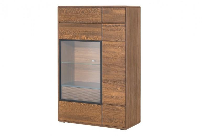 Vitrina din lemn si furnir, cu 1 sertar si 2 usi Small Bellis 15 Oak, l92xA42xH144 cm