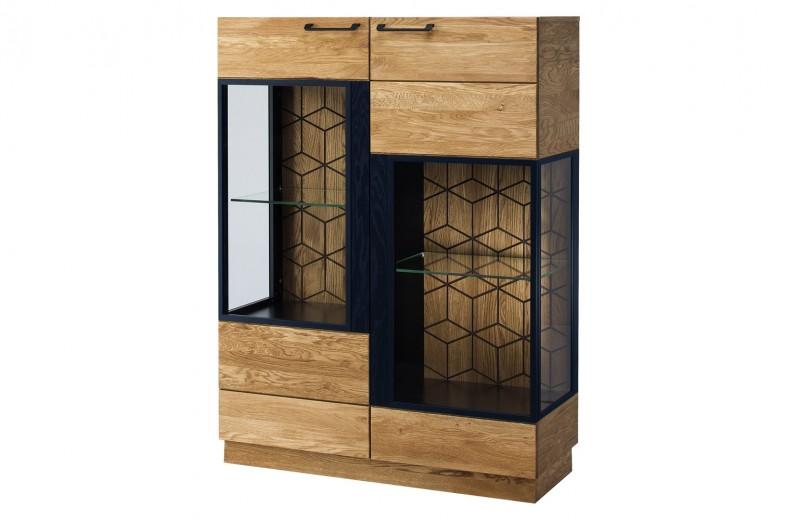 Vitrina din lemn si furnir, cu 2 usi Small Mosaic 15 Stejar / Negru, l95xA42xH143 cm