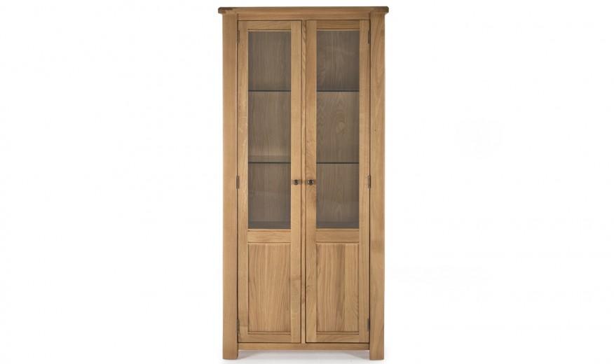 Vitrina din lemn de stejar si furnir, cu 2 usi Breeze Oak, l90xA38xH184 cm