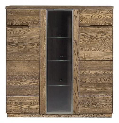 Vitrina din lemn si furnir, cu 3 usi Negro 48 Oak, l120xA42xH125 cm