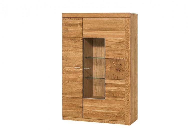 Vitrina din lemn de stejar si furnir, cu 2 usi Small Velle 15 Oak, l95xA42xH147 cm