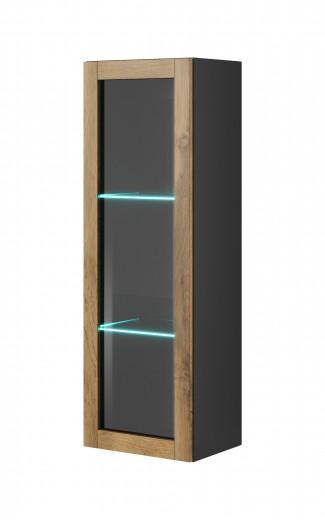Vitrina suspendata din pal si MDF, cu 1 usa Livo W-120 Wotan Oak / Anthracite, l40xA30xH120 cm