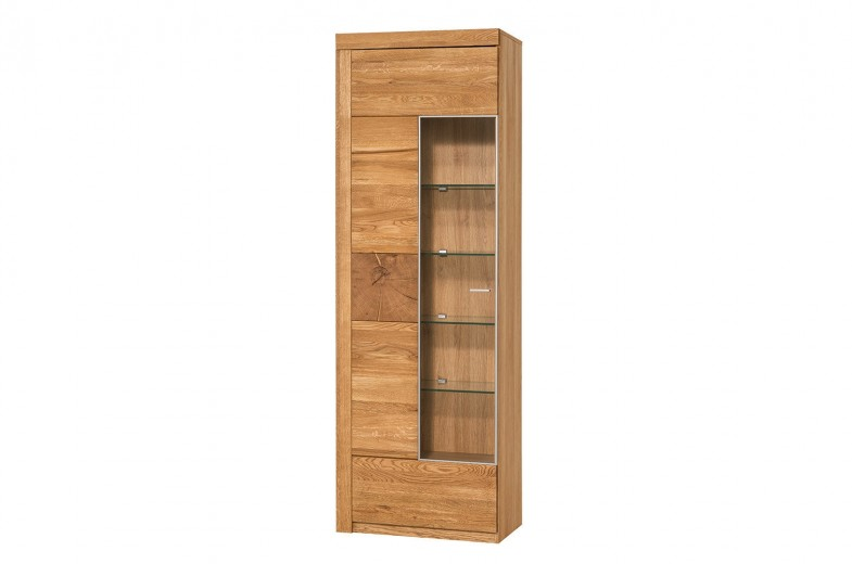 Vitrina din lemn de stejar si furnir, cu 1 usa Velle 10 Oak, l65xA42xH202 cm
