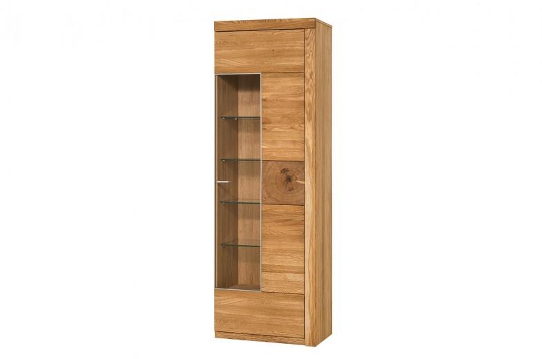 Vitrina din lemn de stejar si furnir, cu 1 usa Velle 11 Oak, l65xA42xH202 cm