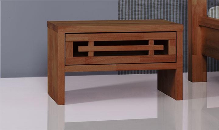 Noptiera din lemn masiv de fag Tokio nuc, l50xA30xH30 cm