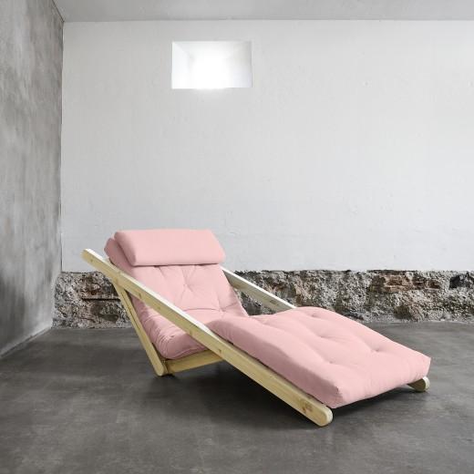 Fotoliu extensibil Figo Unfinished Pastel Pink
