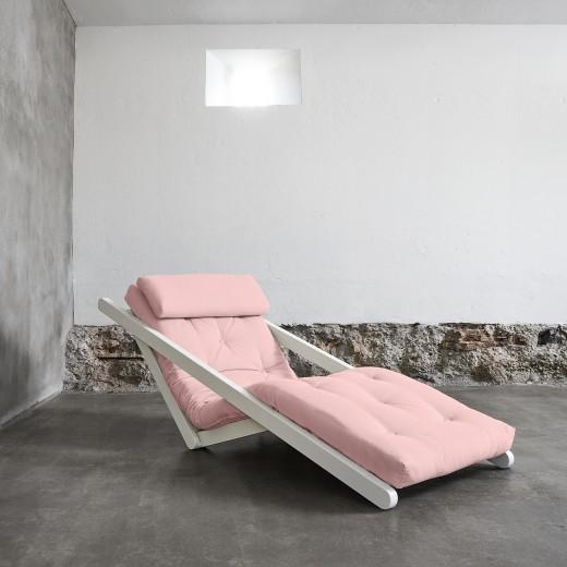 Fotoliu extensibil Figo White Pastel Pink
