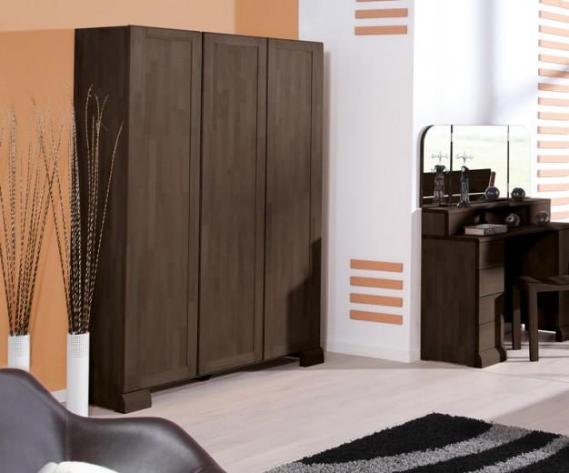 Dulap din lemn masiv de fag Seti 650 3D wenge, l135xA65xH190 cm